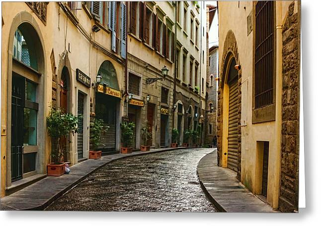 Impressions Of Florence - Walking On The Silver Street In The Rain Greeting Card by Georgia Mizuleva