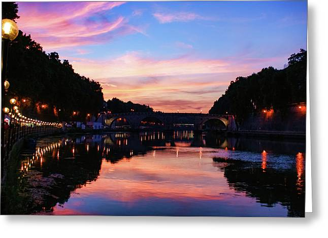 Impressions Of Rome - Divine Sky And A Necklace Of Lights Along Tiber River Greeting Card