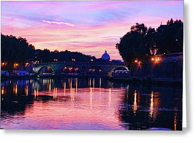 Impressions Of Rome - Glorious Sky Over Tiber River Greeting Card