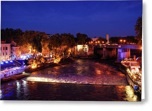 Impressions Of Rome - Summer Festival On The Banks Of Tiber River Greeting Card
