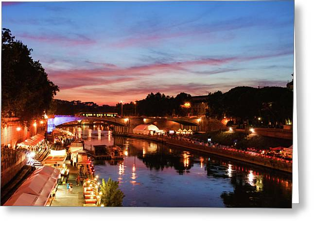 Impressions Of Rome - Summertime Festival On The Banks Of Tiber River Greeting Card