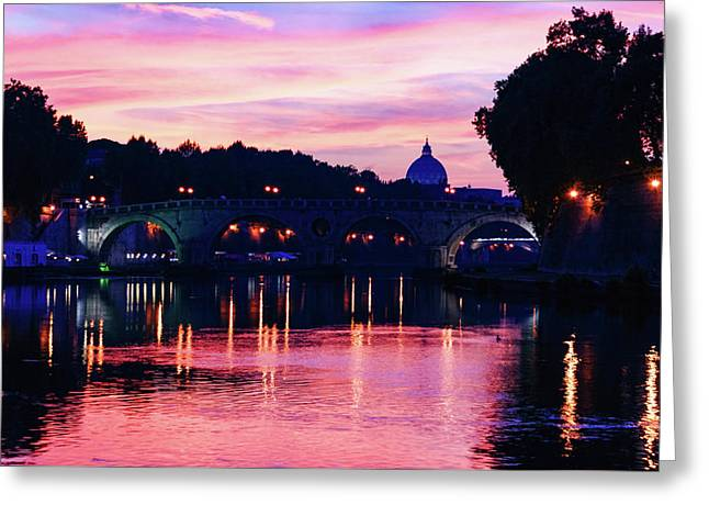 Impressions Of Rome - Tiber River Silky Current In Pink And Purple Greeting Card