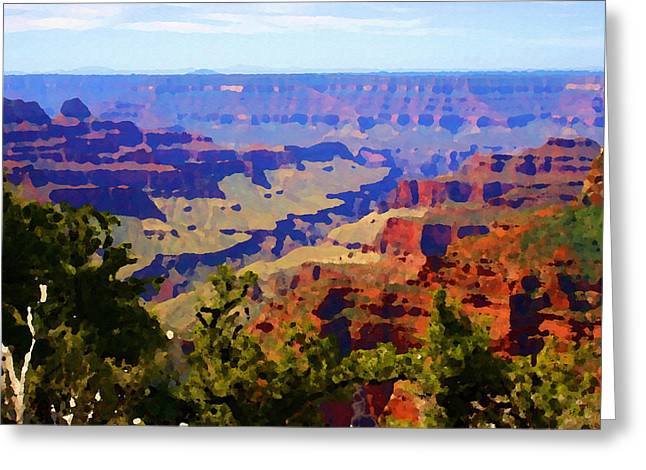 Greeting Card featuring the digital art Impressions Of The North Rim by Shelli Fitzpatrick