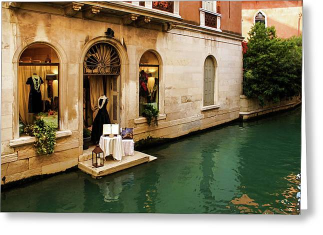 Impressions Of Venice - Shopping For A Black Dress At An Elegant Canalside Boutique Greeting Card by Georgia Mizuleva