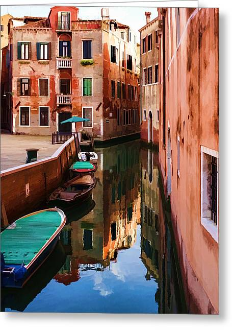 Impressions Of Venice - Wandering Around The Small Canals Greeting Card by Georgia Mizuleva
