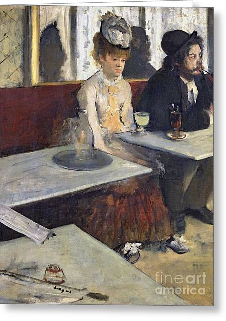 Figure In Oil Greeting Cards - In a Cafe Greeting Card by Edgar Degas