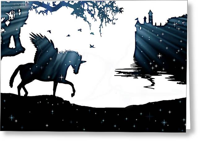 In A Dream, Unicorn, Pegasus And Castle Modern Minimalist Style Greeting Card