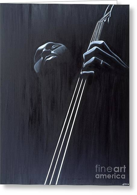 Bass Player Greeting Cards - In a Groove Greeting Card by Kaaria Mucherera