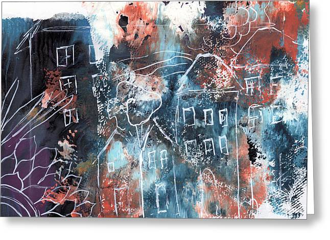 In A Northern Town- Abstract Art By Linda Woods Greeting Card by Linda Woods