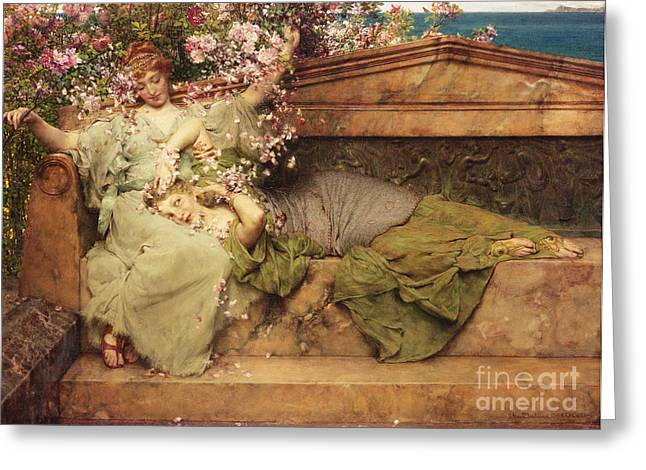 Pink Blossoms Greeting Cards - In a Rose Garden Greeting Card by Sir Lawrence Alma-Tadema