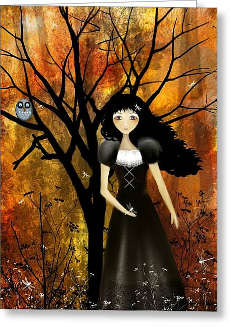 Goth Girl Greeting Cards - In An Autumn Forest Greeting Card by Charlene Zatloukal