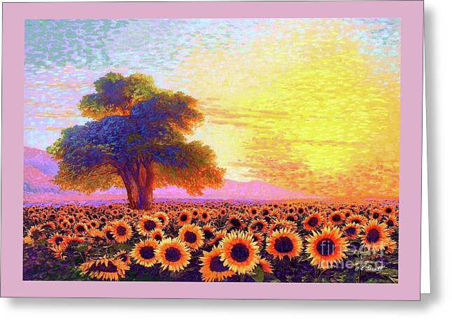 In Awe Of Sunflowers, Sunset Fields Greeting Card by Jane Small