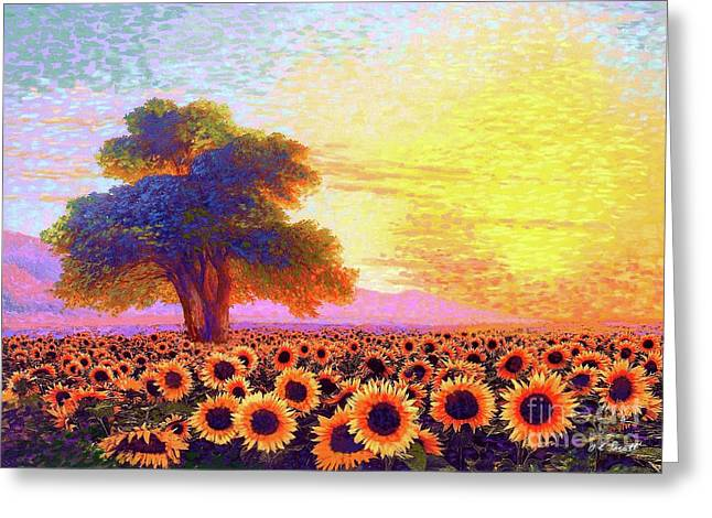 In Awe Of Sunflowers, Sunset Fields Greeting Card