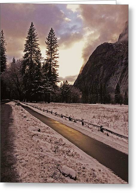 Greeting Card featuring the photograph In Between Snow Falls by Walter Fahmy
