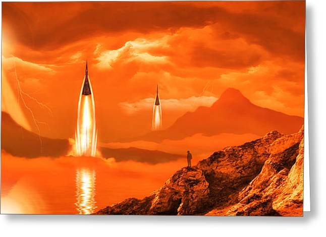 Intergalactic Space Photographs Greeting Cards - In Defense of the Orange Planet Greeting Card by Anthony Citro