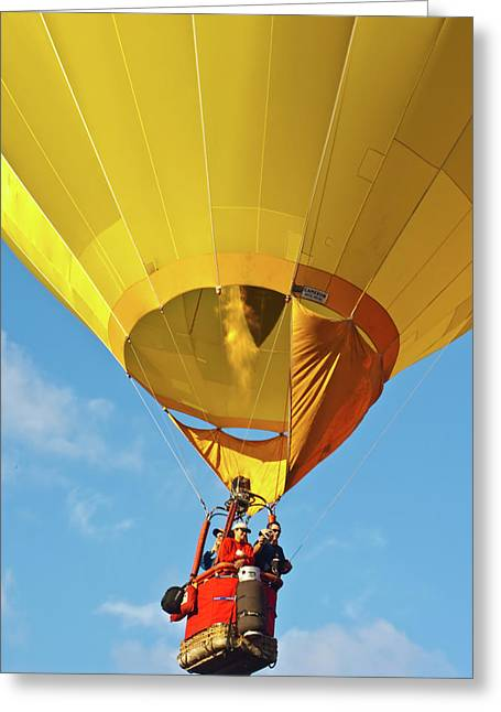 Hot Air Balloons Greeting Cards - In Flight Greeting Card by Brian Roscorla
