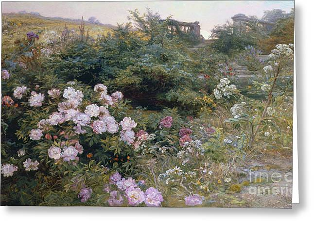 Ruins Paintings Greeting Cards - In Full Bloom  Greeting Card by Henry Arthur Bonnefoy