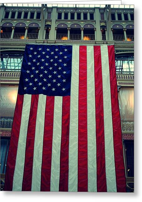 In God We Trust American Flag Milwaukee Wi Greeting Card by Laura Pineda