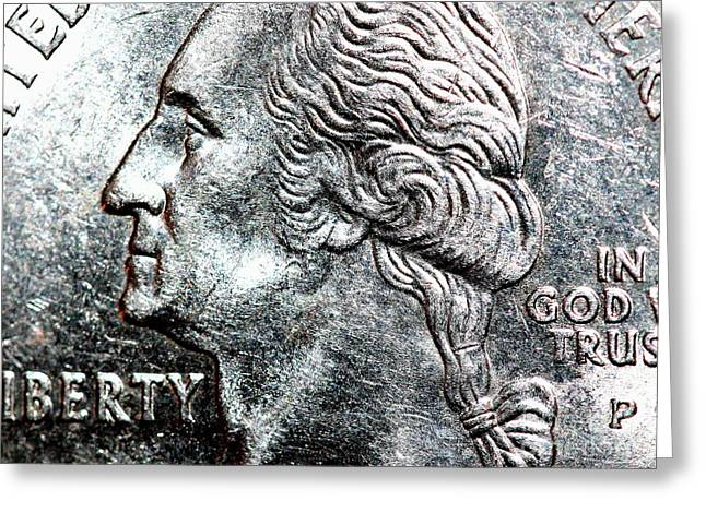In God We Trust . Quarter . R4441 Greeting Card by Wingsdomain Art and Photography