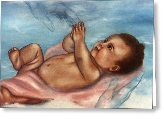 Greeting Card featuring the painting In Gods Hands by Joni McPherson