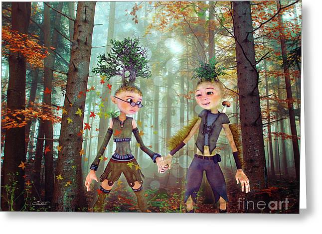 Greeting Card featuring the digital art In Harmony With Nature by Jutta Maria Pusl