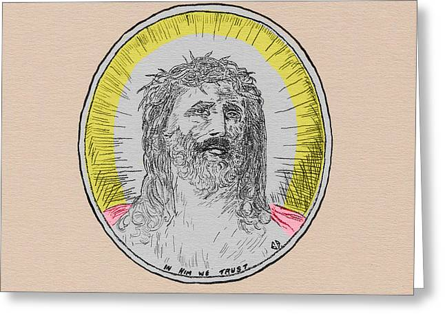 In Him We Trust Colorized Greeting Card