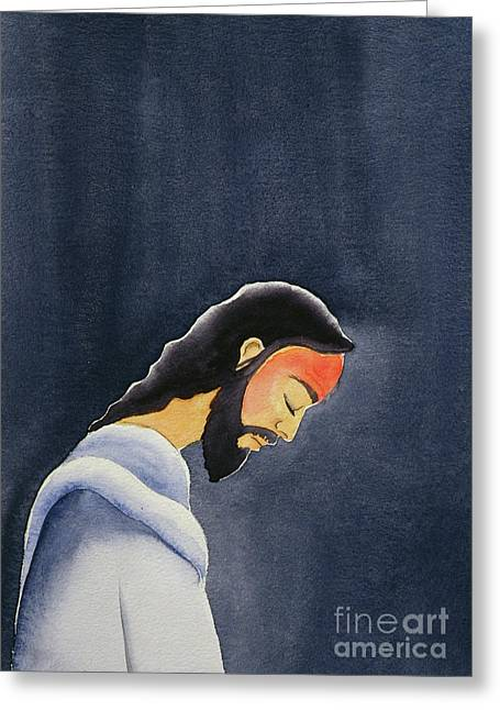 In His Agony Jesus Prays In Gethsemane To His Father Greeting Card