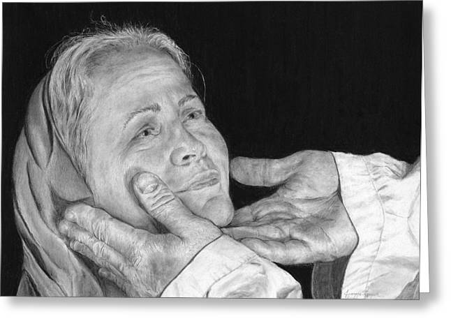 Black And White Drawings Greeting Cards - In His Hands Greeting Card by Jyvonne Inman