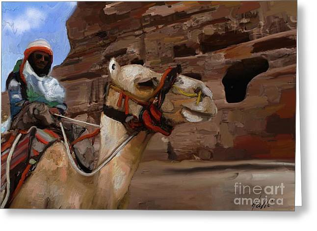 In Jordan - Petra  Greeting Card by Aline Halle-Gilbert