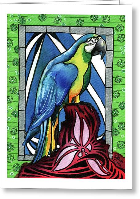 Greeting Card featuring the painting In Love With A Macaw by Dora Hathazi Mendes