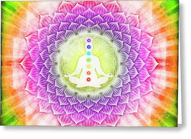 In Meditation With Chakras Greeting Card