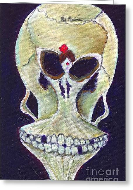 In My Deaths Head Greeting Card by Ricky Sencion