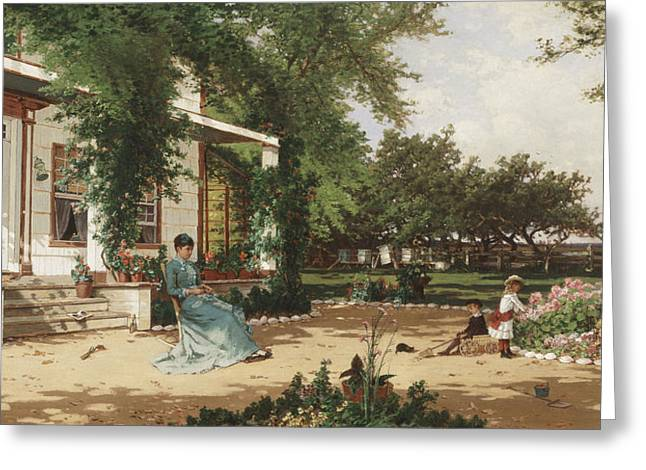 In My Neighbours Garden Greeting Card by Alfred Thompson Bricher