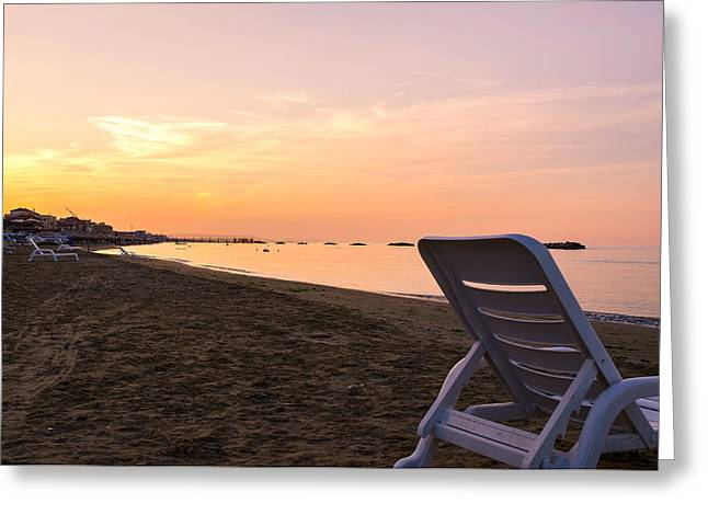In My Universe - Sunset Over The Sea Greeting Card by Andrea Mazzocchetti