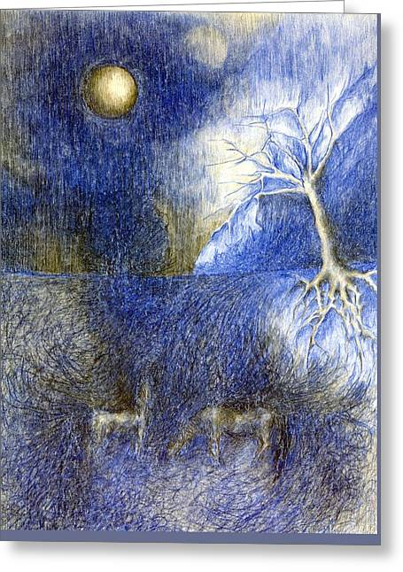 In Night On Meadow  Greeting Card
