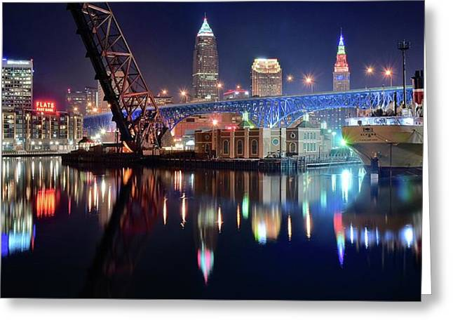 In Port For Winter Panorama Greeting Card