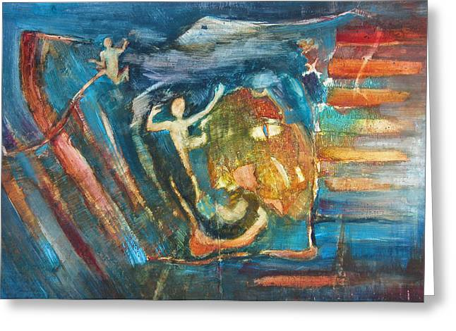 Dream Scape Paintings Greeting Cards - In Pursuit of Memory Greeting Card by Dana Hansler
