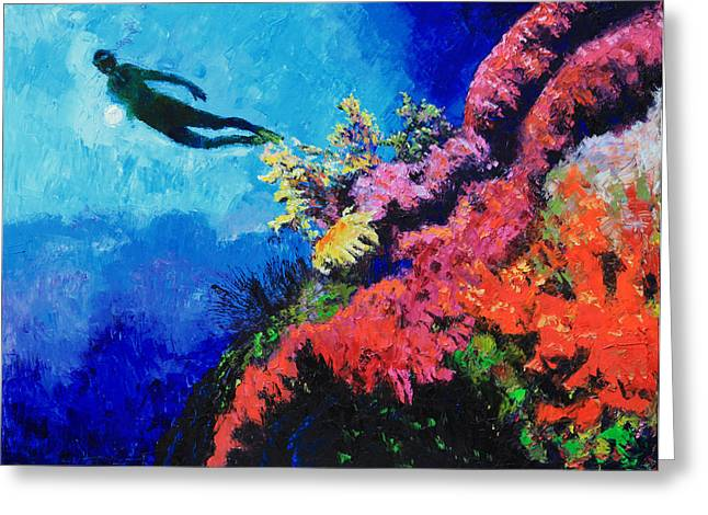 Swimmers Greeting Cards - In Search of The Creator Greeting Card by John Lautermilch