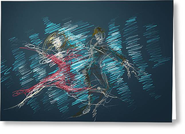 Greeting Card featuring the digital art In The Ballroom by Keith A Link