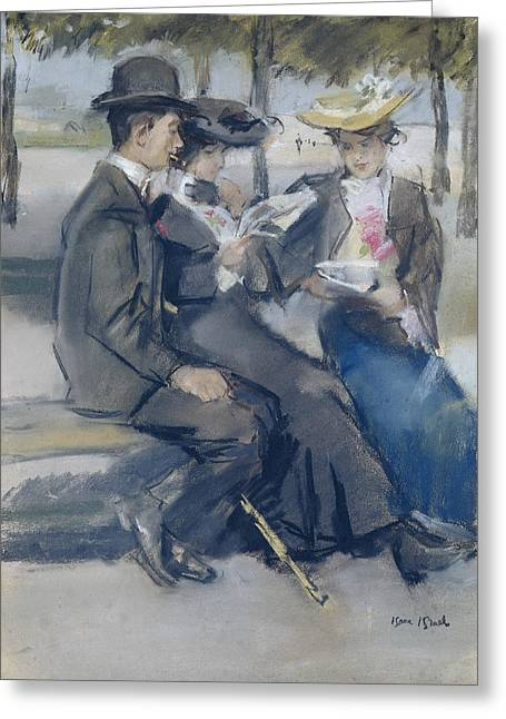 In The Bois De Boulogne Close To Paris Greeting Card by Isaac Israels