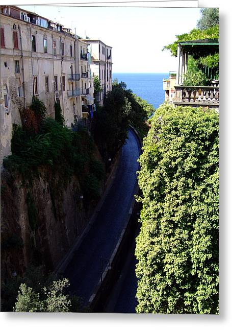 In The Center Of Sorrento Italy Greeting Card by Mindy Newman