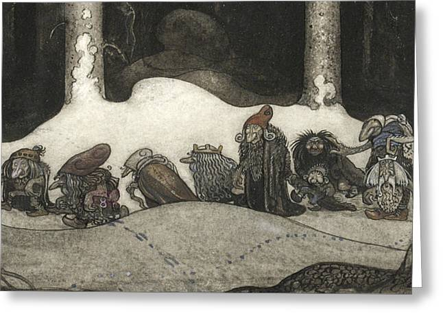 In The Christmas Night  Greeting Card by John Bauer