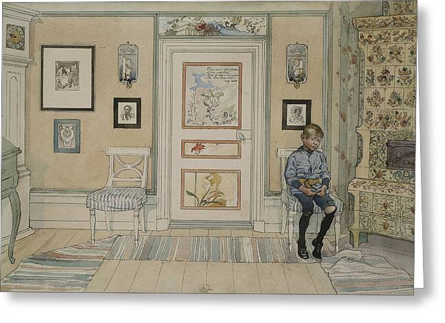In The Corner. From A Home Greeting Card by Carl Larsson