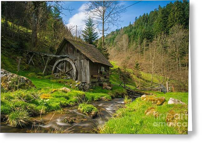 In The Countryside - Old Barn Near River Greeting Card by Thomas Jones