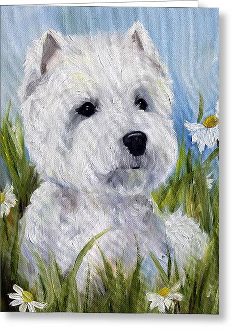 Westie Art Greeting Cards - In the Daisies Greeting Card by Mary Sparrow