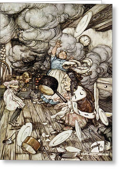 In The Duchesss Kitchen Greeting Card by Arthur Rackham