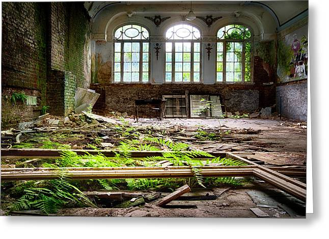 In The End Nature Always Wins - Urbex Abandoned Hotel Greeting Card