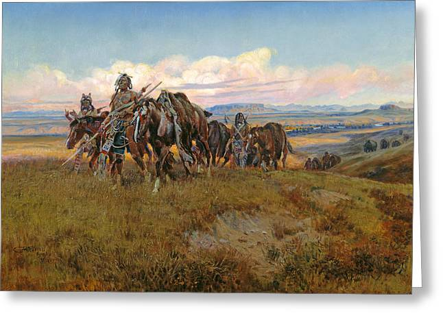 In The Enemy's Country Greeting Card by Charles Marion Russell