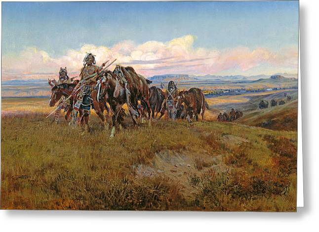 In The Enemys Country Greeting Card by Charles Russell