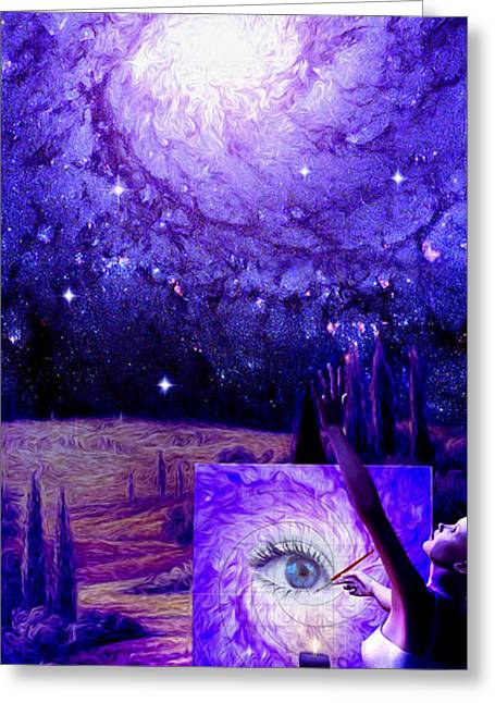 Greeting Card featuring the painting In The Eye Of The Beholder by Robby Donaghey